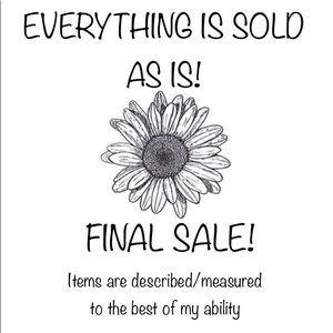 Sold as is final sale